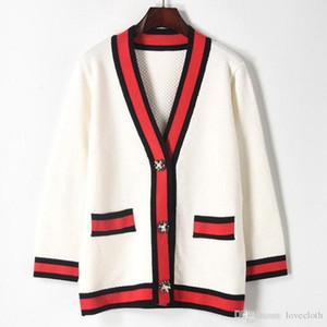 Luxus Designer Frauen Pullover Casual Hit Color V-Ausschnitt Stricken Strickjacke Damen Pearl Strass Schnalle Pullover Weibliche Langarm Pullover