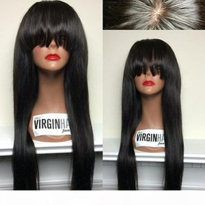 2016 New Arrival Brazilian Human Hair 4''*4'' Silk Top Glueless Full Lace Wigs With Bangs For Black Women