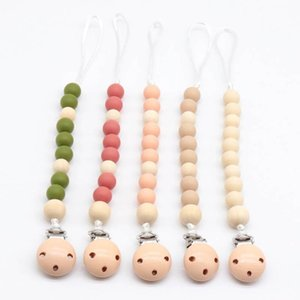 INS Baby Clip Chain Holder Wood Beaded Pacifier Soother Holder Clip Baby Teether Silicone Teething Toys kids Chew Toys