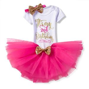 Summer Dress oro bambino di estate veste bambino per neonate 2 ° compleanno Outfits bambini Costume Party 2 Year Old battesimo Abbigliamento