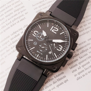 Mens relojes reloj suizo de la alta calidad para los hombres del cronógrafo movimiento de cuarzo relojes de diseño caja cuadrada de caucho BR relojes reloj resistente al agua
