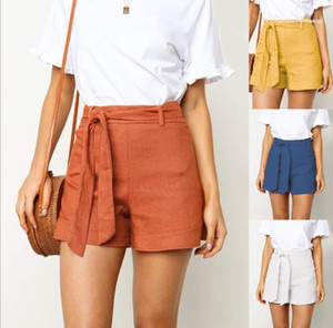 Summer Women Designer Clothes Fashion Designer Womens Shorts Casual Solid Color High Waist Loose Pants with Ribbon