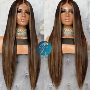 Brown Ombre Lace Front Human Hair Wigs Pre-plucked 360 Lace Frontal Wig 250 Density Colored Lace Front Wig Brazilian Remy For Women Black