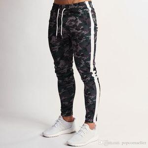 Pantalones moda cordón paneles Fitness entrenamiento cintura elástica lápiz pantalones Casual Mens Running pantalones camuflaje Mens diseñador