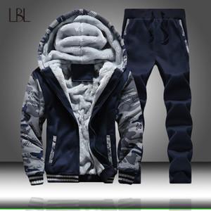 Inverno Tuta Uomini spessore Fleece Zipper Tute Mens casuali con cappuccio + pantaloni vestito di pista Maschio 2 pezzi Sportswear Abbigliamento Uomo