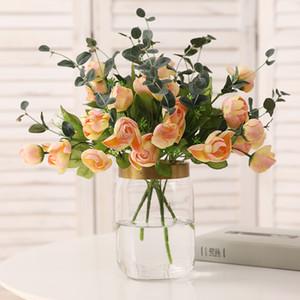 5PCS 시뮬레이션 (10) 헤드 봄 동백 꽃다발 꽃 배열 베드룸 데스크 실크 꽃 장식 홈 가짜 꽃 벽 웨딩 장식