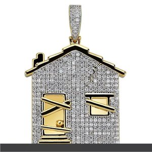 Hiphop House Pendant Neckalce For Men Brand Jewelry Ice Out Bling Cubic Zirconia Hip Hop Necklace Chain