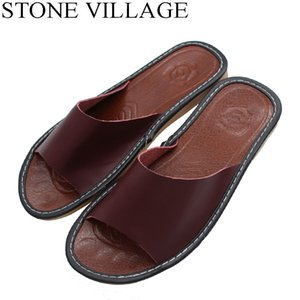 Size 35-44 Genuine Leather Home Slippers High Quality Women Men Slippers Non-slip Cool Indoor Shoes Men & Women Summer Shoes Y200706