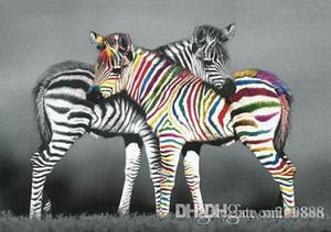 Soyut Sanat Zebra Hayvan El yapımı / Ev Dekorasyonu Wall Art Yağ Tuval Çoklu Boyutları On Boyama yazdır / Çerçeve Seçenekleri A148 200311