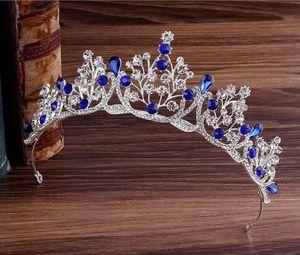 Muhteşem Prenses büyük düğün Taçlar Gelin mücevher headpieces Çelenkler Kadınlar Gümüş Metal Cryst Avrupa headpieces Takı Gelin Aksesuarları