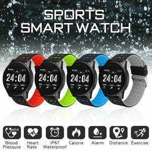 2019 Erkekler Spor Akıllı Izle Kalp Hızı Kan Basıncı Monitörü iOS Android için Su Geçirmez Akıllı Bant Kadınlar Spor Bileklik
