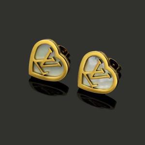 Hot Sale Small Size Top-Qualität Gold Silber Rose Fashion Jewelry V Brief einfach herzförmige Ohrringe Edelstahl-Band für Frauen Geschenke