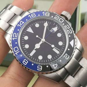 Fashio New GMT Ceramic Mens Mechanical Stainless Steel Automatic 2813 Movement Watch Sports batman men Watches Wristwatches