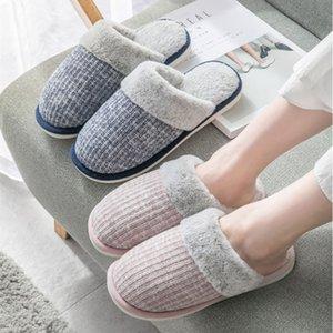 Knit di inverno pantofole di cotone casa coppia coniglio coperto di capelli pantofole femminile morbido caldo antiscivolo suola di scarpa