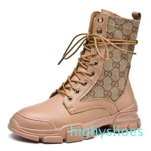 Khaki geometrico modello Martin Boots Lace-up Stivaletti signore Snow Boots Inverno Scarpe in pelle Boot Calzature Scarpe in pelle di lusso