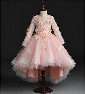 Бабочка Tulle Girl's Pageant платье день рождения вечеринка платье hi-lo шарики цветы девушка принцесса платье пушистые дети первые причастия платья