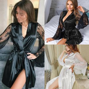 2019 Women Sexy Satin Silk Lace Long Sleeve Sleep Robe Lace Up Knot Deep V Neck Nightwear Perspective Flower Lingerie Pajamas