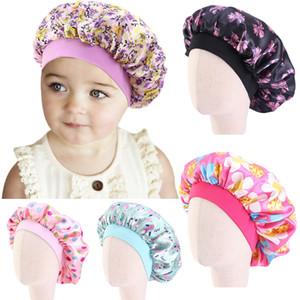 New Kids Children Faux Silky Bonnet Cap Satin Flower Printed Turban Chemo Hat Girl's Wide Elastic Band Pattern Night Sleep Cap