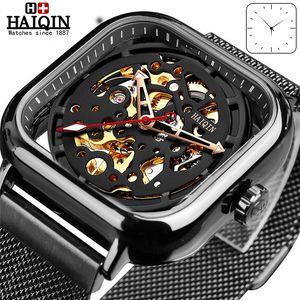 Haiqin Moda Esporte Mens Relógios topo marca de luxo Praça mecânicos homens relógio wirstwatch oco esqueleto erkek kol saati 2019 T200311