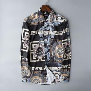 2020 taille européenne Medusa chemises nouveaux chemises pour hommes mode Harajuku Casual Shirt hommes Medusa noir or fantaisie 3D Imprimer Slim Fit chemises
