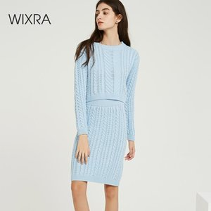 Wixra Autumn Winter Knitted Women's Sets O Neck Long Sleeve Short Sweaters Knee-Length Skirts Solid Sets For Ladies T200702