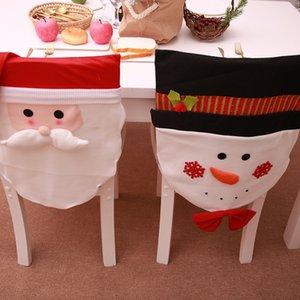 2019 Nueva silla de decoración navideña Set Old Man Snowman Restaurant Scene Dress Up Cubierta para silla de fiesta Suministros de Navidad