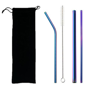 5pcs Eco Friendly Reusable Straw 304 Stainless Steel Straw Metal  Drinking Straws Set with Brush & Bag