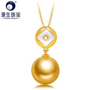 YS 18K Solid Gold Au750 ouro zircão Pendant 10-11mm naturais de água salgada South Sea Tahitian Pearl Necklace Pendant