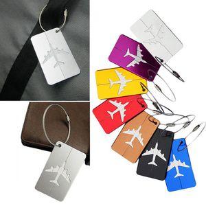 100шт алюминиевый сплав багажные бирки самолет форма квадратная идентичность адрес имя этикетки дорожные аксессуары багажная доска подарок партии