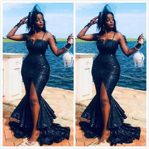 Azul marinho Sexy Evening Dresses Spaghetti Mermaid Prom Vestidos alta Dividir lantejoulas formal do partido da dama de honra Pageant Vestidos robe de soiree