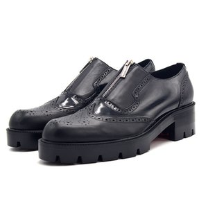 2020 Casual Genuine Leather Footwear Designer Zip Ala Tip Brogue Shoes Affari Altezza crescente Platform Shoes maschio convenzionale