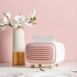 Creative Radio Tissue Box ABS Living Room Chic Paper Towel Storage Box Hotel Restaurant Home Decoration Supplies Pink+White