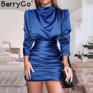 Berrygo Sexy Satin Solid Donne Delle Donne Dress TurtrleNeck BodyCon Party Dress Ruched Vita alta Mini manica lunga Plus Size Abiti