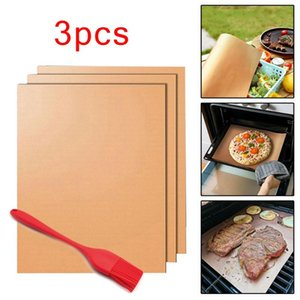 Non-stick BBQ Grill & Baking Mats Set Of 3 Barbecue Mat With 1pcs Brush For Charcoal Grill Electric Oven