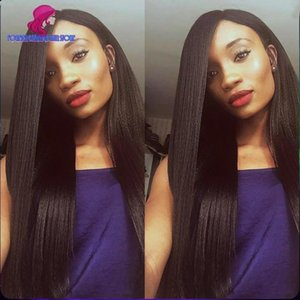 Full Lace Wig Malaysian Human Hair Yaki Straight Italian Yaki Lace Front Wig Glueless Full Lace Human Hair Wig For Black Women