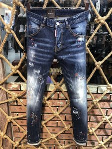 2020 nuovo progettistaDSquared2DSQ2D220ss uomini di lusso dei jeans del denim Fori Pantaloni Pantaloni jeans Biker Rock Revival Jeans 9505