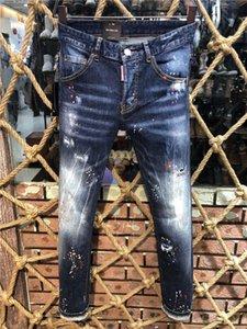 2020 Yeni TasarımcıDSquared2DSQ2D220ss Erkekler Lüks Denim Jeans Delikler Pantolon Pantolon Biker Jeans Rock Revival Jeans 9505