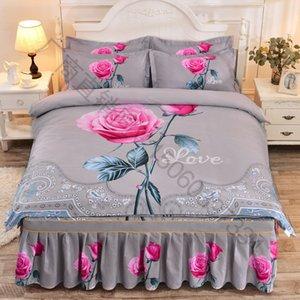 Mode Set Ponçage doux Thicken Literie de mariage Bed jupe couette Pillowcases Roi Reine double Literie