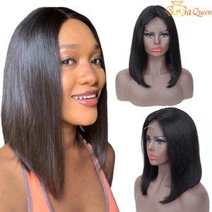 Brasileña del pelo recto corto peluca de Bob cordones ajustable 4x4 encierro del pelo humano pelucas de Bob naturaleza del color del pelo Gagaqueen
