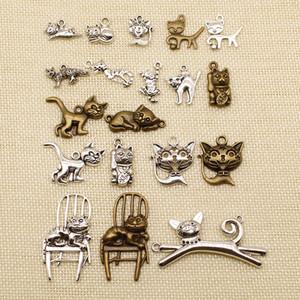 60 Stück Metall-Anhänger oder Armband Charms Tier Kitty Cat HJ057