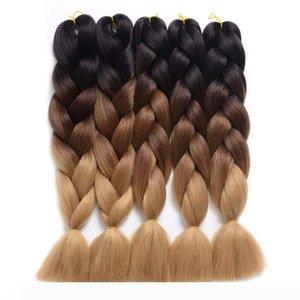 증권 Kanekalon 크로 셰 뜨개질 털의 머리에 두 색 Xpressions 털 머리 확장 크로 셰 뜨개질 머리띠 점보 드리다 이상 24 색