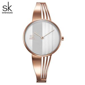 Shengke Moda placcato oro delle donne Orologi Charm signore braccialetto dell'orologio del quarzo della vigilanza delle donne Montre Femme Relogio Feminino