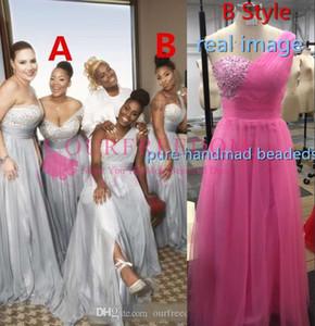 명예 드레스 플러스 사이즈 맞춤 제작 100 $ 들러리 드레스 쉬폰 아프리카 컨트리 가든 정장 웨딩 파티 게스트 메이드에서