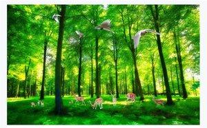 Personnalisé 3D photo papier peint soie matériel murale Bel arbre vert printemps elk paysages 3d salon TV fond papier peint pour les murs