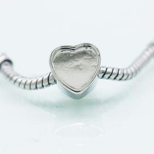 Yeni boş kalp fotoğraf şeffaf cam coverFit Pandora Chamilia Biagi Bilezik Avrupa resim hafıza Charms boncuk
