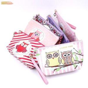Owl Handmade Pu Bag Toiletry Animal Cartoon Zipper Pu Leather Makeup Waterproof Organizer