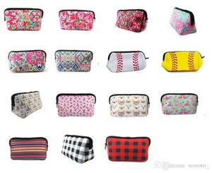 New Neoprene euramerican cosmetic bag flower storage bag rose baseball bag fashion zero purse plaid cloth bags free shipping