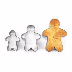 3PCS Stainless Steel Gingerbread Man Cookie Moulds Durable Fondant Cutters Kitchen Baking Tool For New Year Christmas