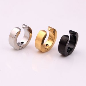 1PC No Percing Stainless Steel Basic Magnet Hoop Earring For Women Men HipHop Silver Black Color Magnetic Earring Jewelry E362-3