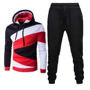 2019 New Men Trainingsanzug beiläufige Hoodies Hosen Herren-Sporthose Hoody Sweatshirt Männer Anzüge Jogging Sweatpant 2 PC-Trainings